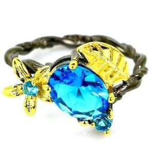 Swiss Blue Stone in Black Gold Ring